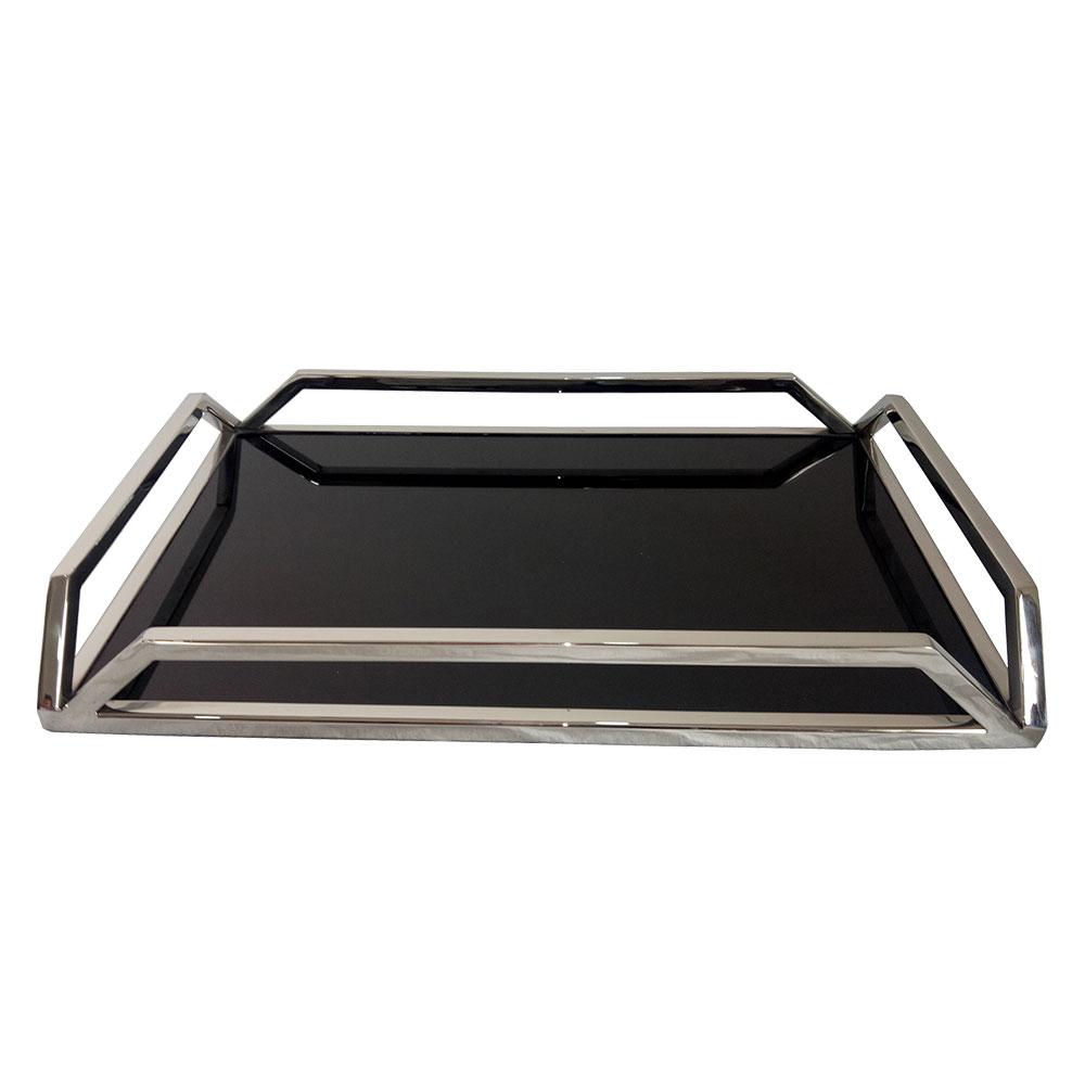 23171 - Bandeja retangular em aço inox/ Preto 56x36x5cm