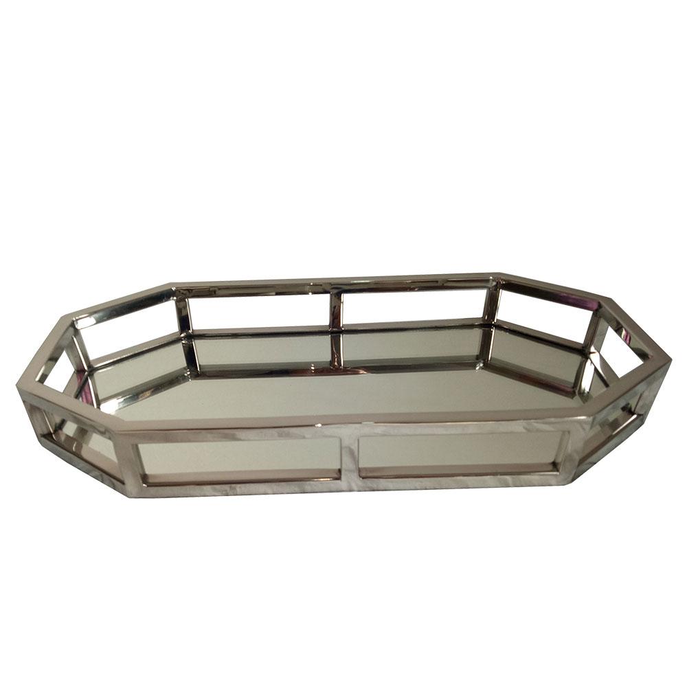 23178 - Bandeja Oval em aço inox/espelhada 39x19x5cm