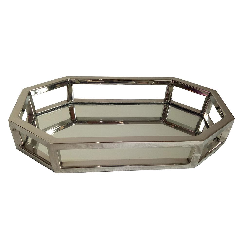 23179 - Bandeja Oval em aço inox/espelhada 28x15x5cm