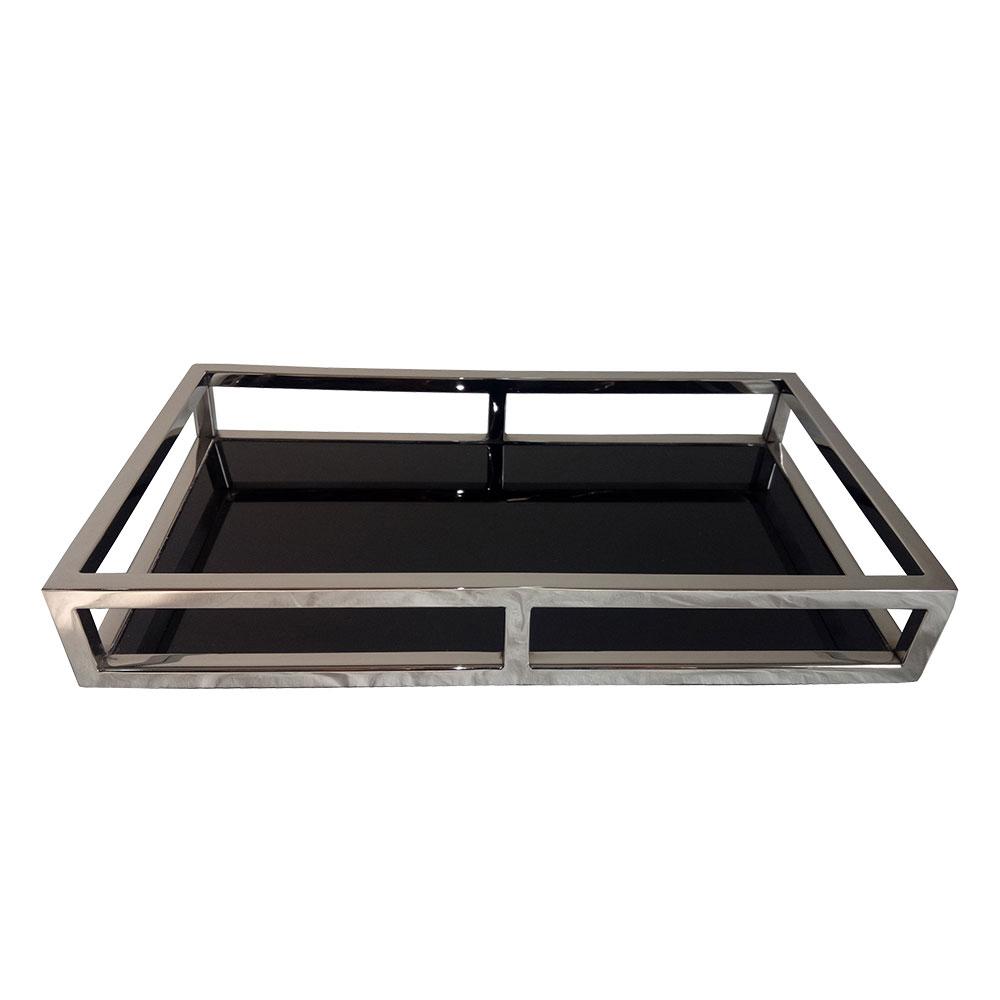 23181 - Bandeja retangular em aço inox/Vidro Preto 35x20x5cm