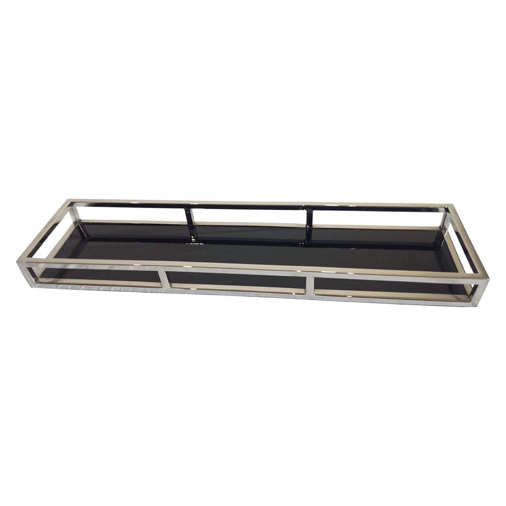 23182 - Bandeja retangular em aço inox/Vidro Preto 60x15x5cm